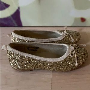 Crewcuts Gold Glitter Ballet Flat